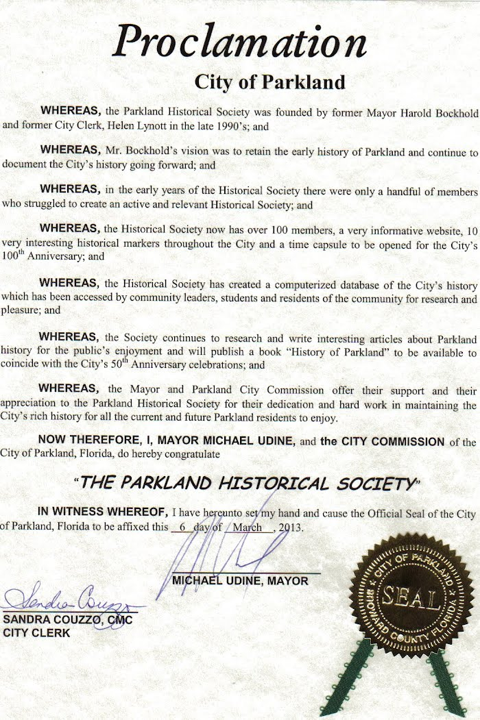PHS Proclamation from the City of Parkland